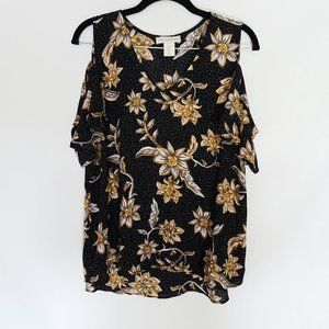 Cynthia Rowley Floral Cold Shoulder Ruffle Top